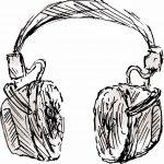 sketch of a pair of headphones